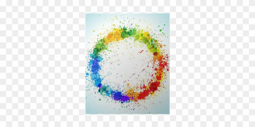 Color Paint Splashes Round Background Poster • Pixers® - Color