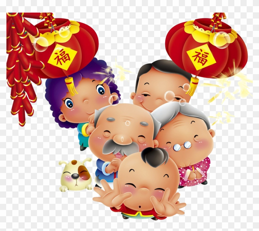 Chinese New Year Cartoon Oudejaarsdag Van De Maankalender - Chinese New Year Cartoon #1317633