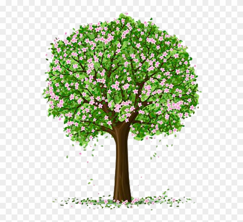 Spring Trees And Flowers Cartoon Tree With Flowers Free