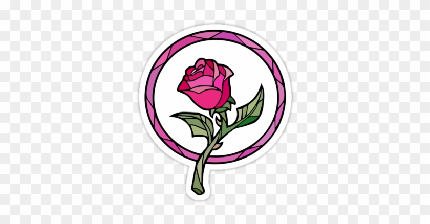 Stained Glass Clipart Rose - Beauty And The Beast Rose Glass #1323580
