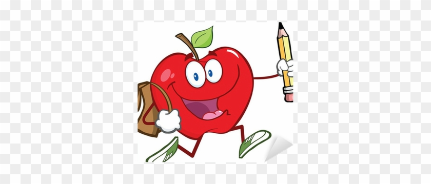 Red Apple Character With School Bag And Pencil Goes - Imagen De Manzana Escolar #1323654
