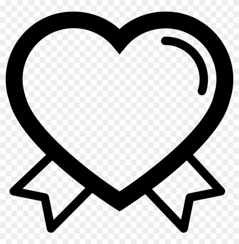 Valentines Heart Outline Shape With Ribbon Tails Couple - Heart #1323803
