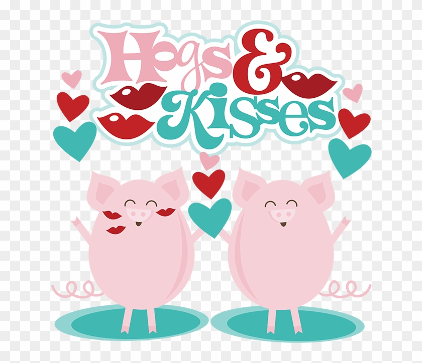 Domestic Pig Clip Art - Hogs And Kisses Valentine Printable #1324398
