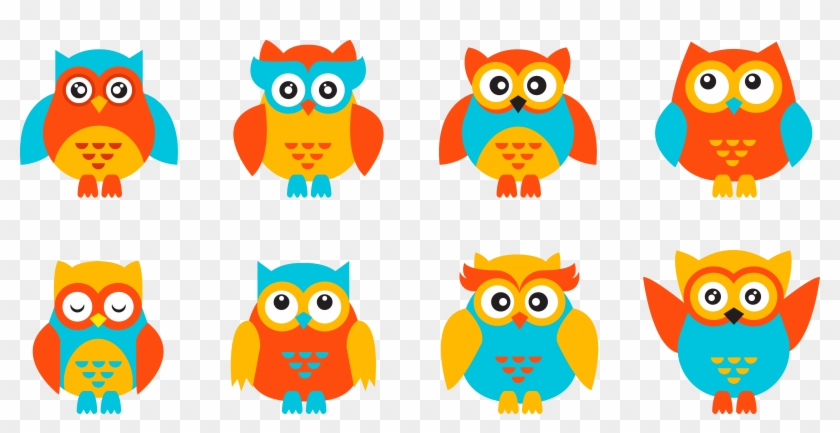 Baby Owls Cuteness Clip Art - Owl Colorede Png #1324416