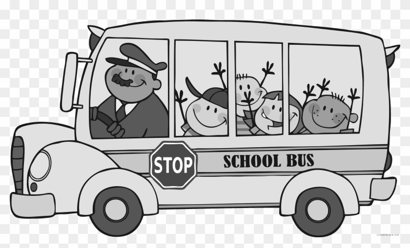 School Bus Transportation Free Black White Clipart
