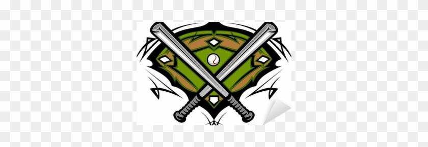 Baseball Field With Softball Crossed Bats Vector Image - Baseball Champions #1325124
