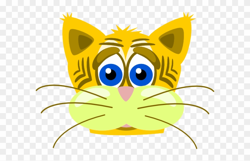 Baby Tiger Face Clip Art - Yellow Cat Shower Curtain #1325412