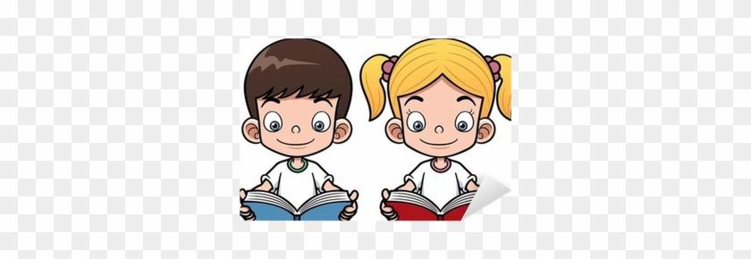 Lovely Cartoon Girl Reading A Book Vector Illustration - Cartoon Boy And Girl Reading #1326273