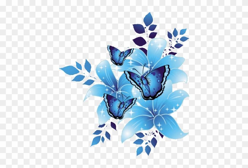 Wallpaper Kupu Kupu - Blue Flower Border Design #1327452