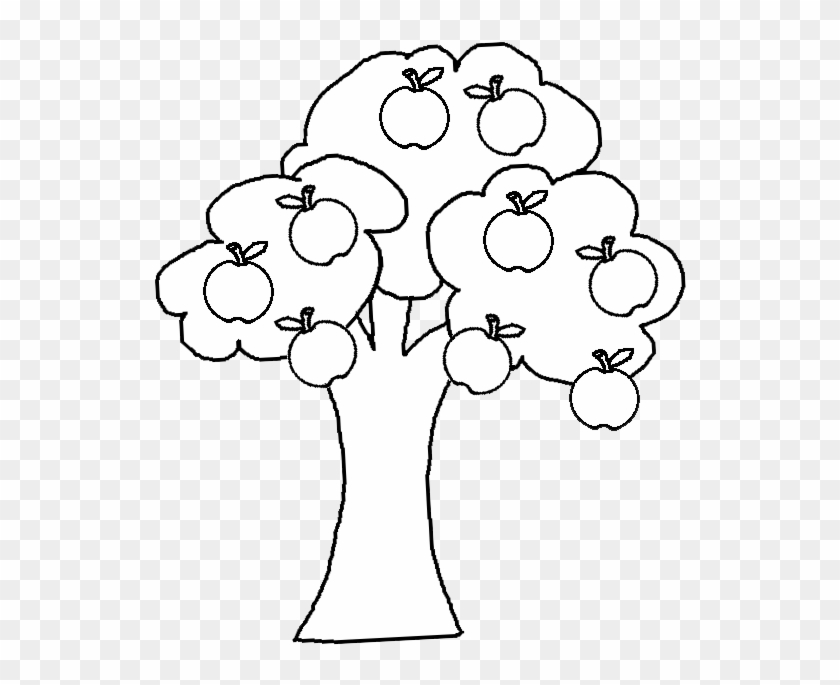 Black And White Cartoon Illustration Of Apple Tree - Apple Tree Clipart Black And White Png #1328434