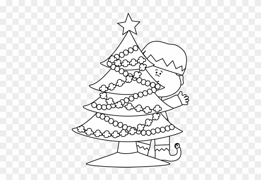 black and white elf behind a christmas tree clipart behind clipart black and white - Christmas Tree Clipart Black And White
