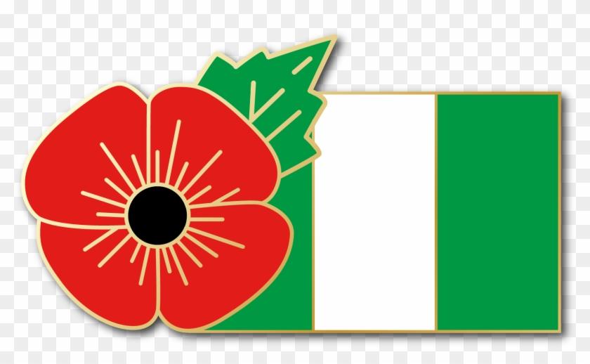 Nigeria Fmn Poppy/flag Combo Medal - Red Poppy Lapel Pin Enamel