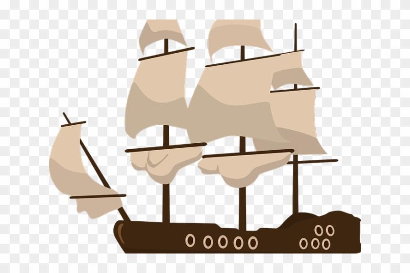 Sailing Ship Clipart Flower - Transparent Pirate Ship #1329738