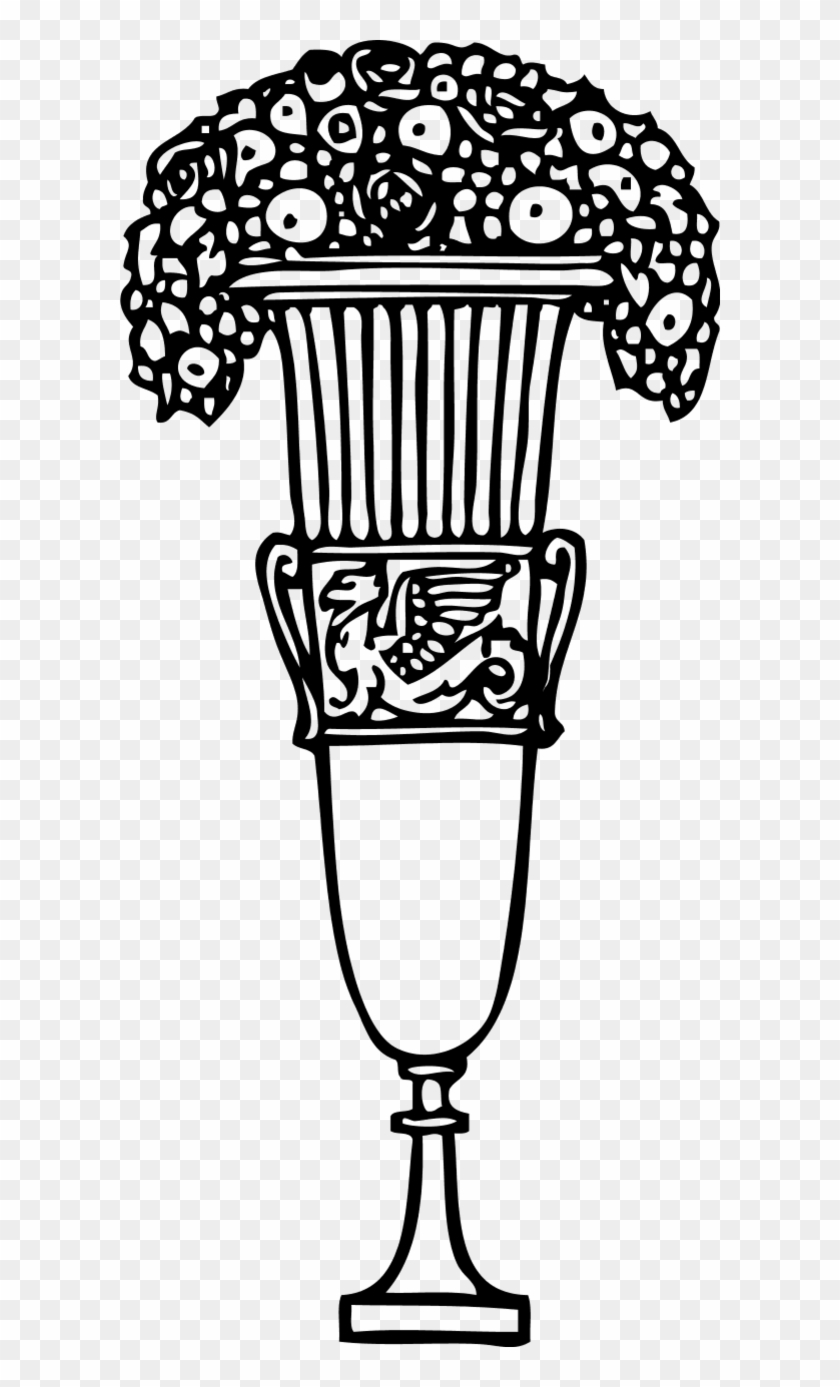 Vector Clip Art Gambar Vas Bunga Hitam Putih Free Transparent