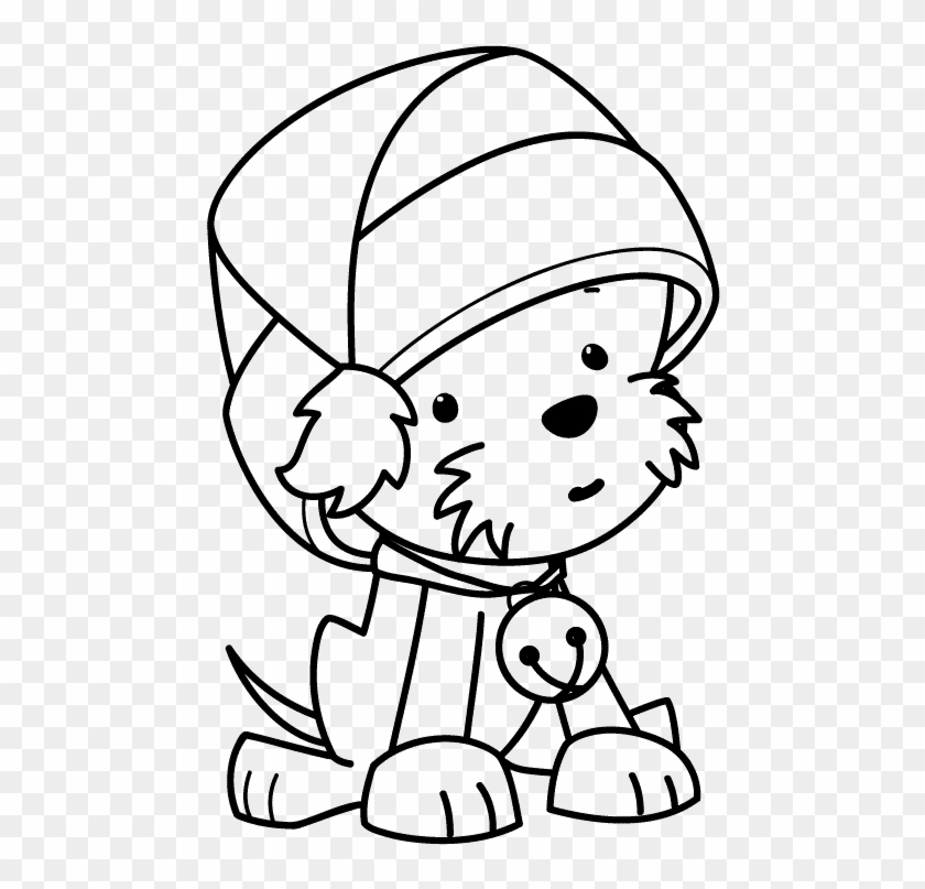 Christmas Hat Drawing Png.Coloring A Cute Little Dog Wearing Santas Hat Christmas
