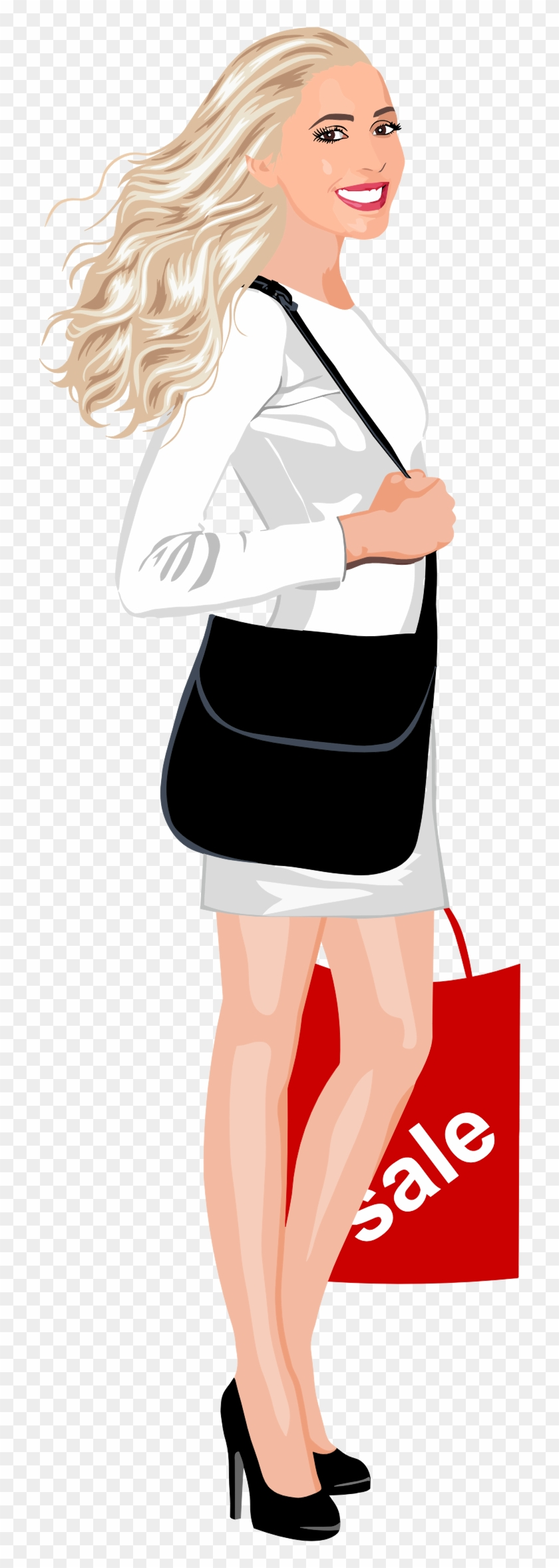 Shopping Woman - Clip Art Girl Shopping Transparent #1336783