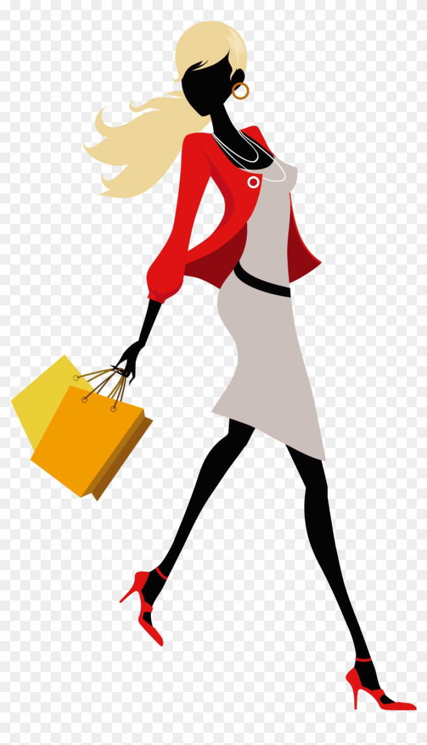 Fashion Woman Illustration Women With Shopping Bags Free