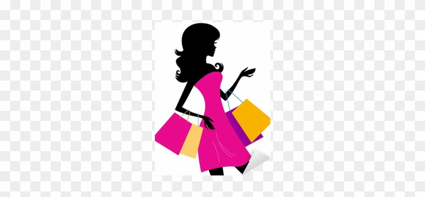Woman Shopping Silhouette Isolated On White Sticker - Woman Shopping Silhouette #1336796