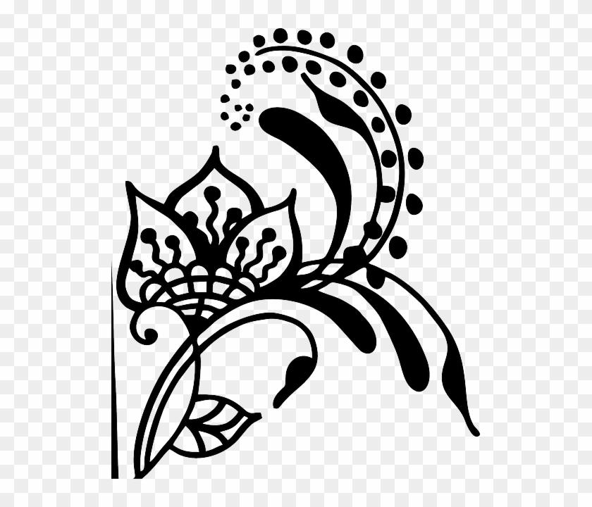 Flower Henna Vines Swirl Artwork Silhouette Gambar Bunga Dari