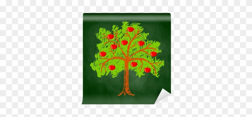 Apple Tree Drawing On Blackboard Wall Mural • Pixers® - Drawing #1337199