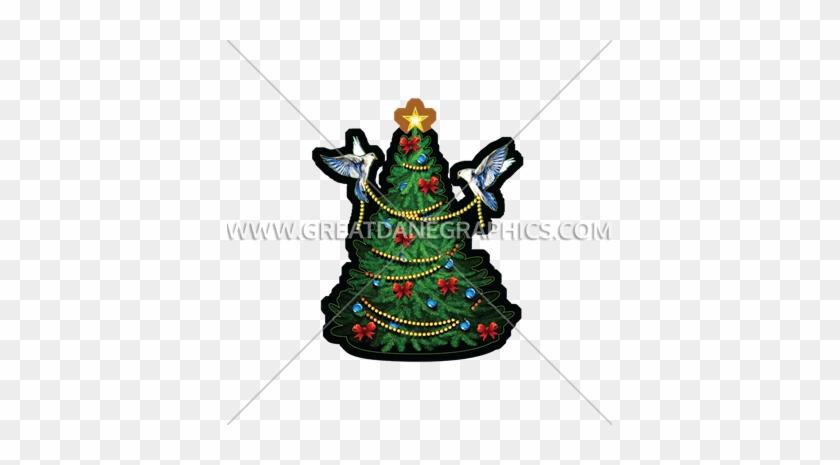 Birds Decorating Tree - Ornament Merry Christmas Tree Tie-dye T ...