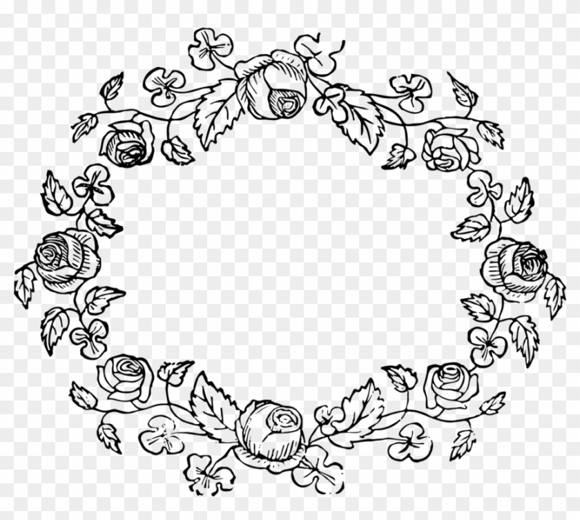 All Photo Png Clipart - Vintage Flower Frame Black And White #1338938
