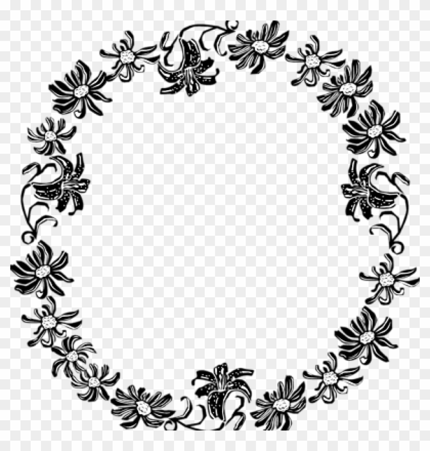 Border Clipart Black And White Black And White Flower - Black And White Floral Border #1338950