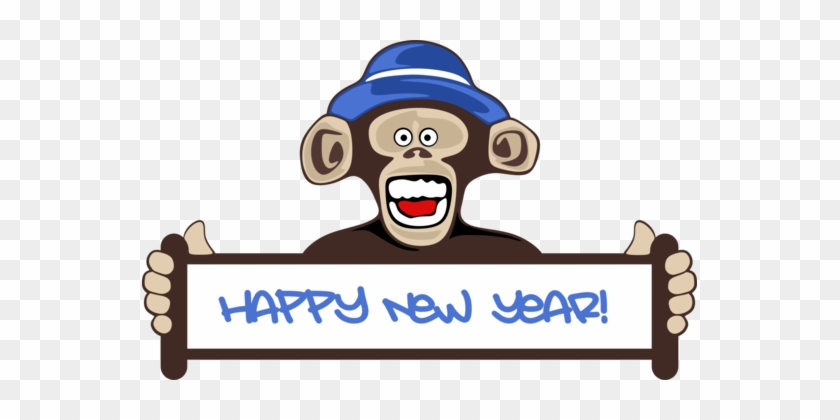 New Year Card Greeting & Note Cards Wish New Year's - Happy New Year Monkey 2018 #1339176