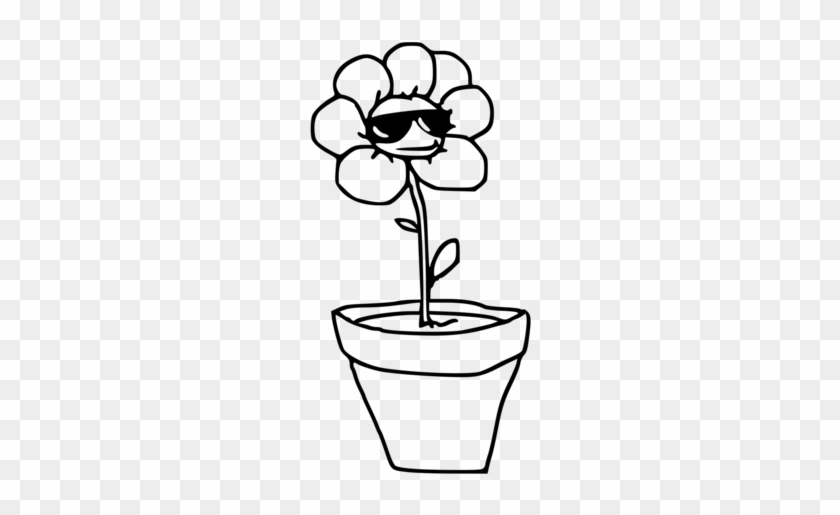 All Photo Png Clipart - Clipart Cartoon Black Flower With Flower Pot #1339703