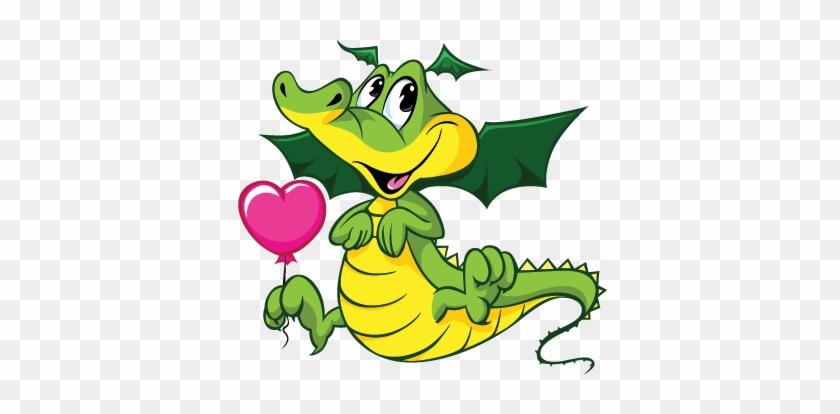 Kids Loving Baby Dragon Wall Sticker - Transparent Background Cartoon Animal #1340267