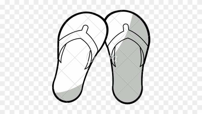 Flip Flops Black White Clip Art - Flip-flops #207973