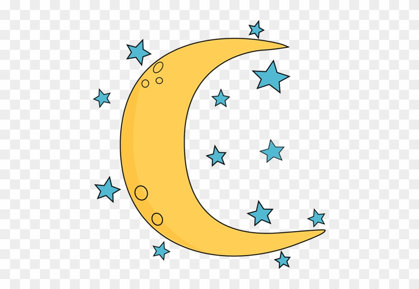 Crescent Moon And Stars Clip Art - Moon And Stars Clip Art #208866