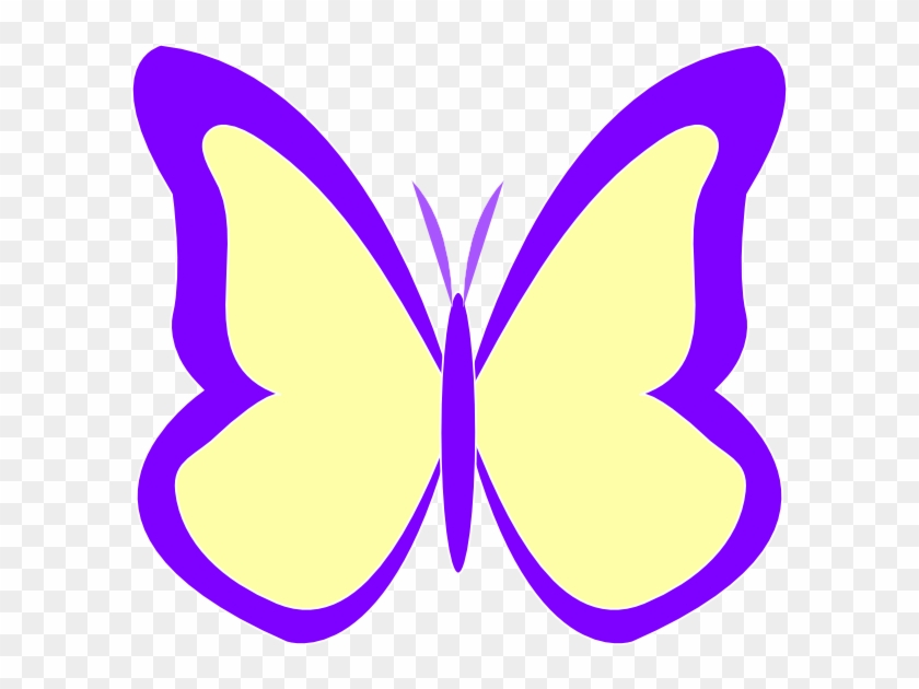 Purple Ivory Butterfly Clip Art At Clker - Butterfly Yellow And Violet #210042