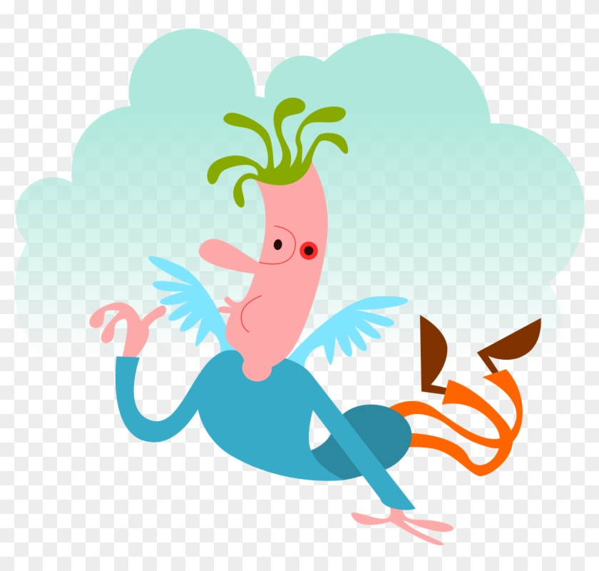 Angel Dream, Man, Bubble, Cloud, Flying, Fantasy, Angel - Man Flying With Wings Cartoon #211053