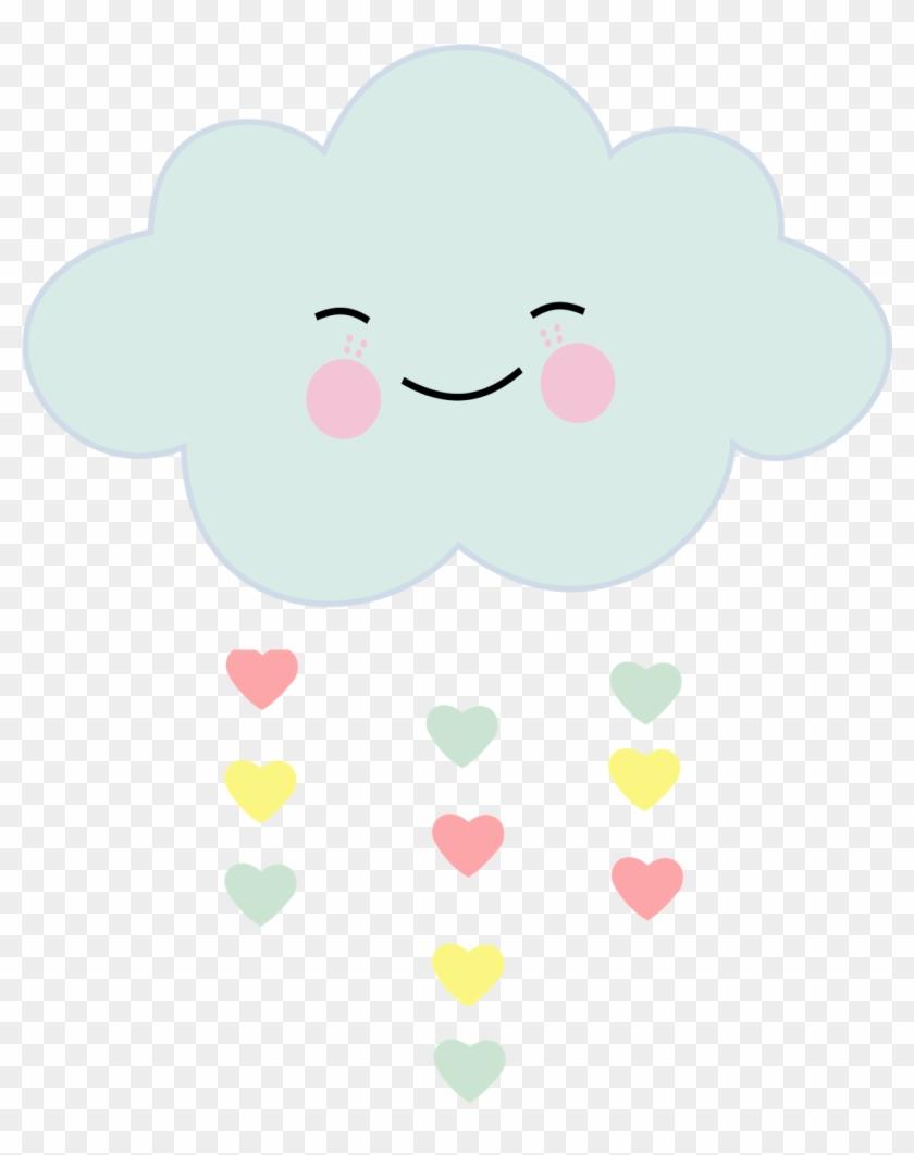 Cloud Hearts Rain Cute Love Colorpastel Ftestickers - Nuvem Chuva De Amor Png #211195