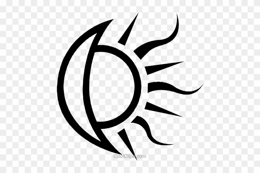 Moon And Sun Royalty Free Vector Clip Art Illustration - Lua E Sol Vetor #1342911
