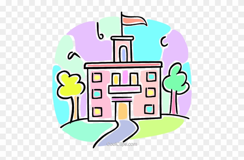 School Building Royalty Free Vector Clip Art Illustration - School #1345278