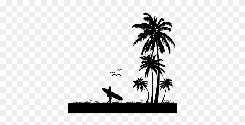 Palm Tree Silhouette Free Clipart Images - Beach Silhouette Png #1348031