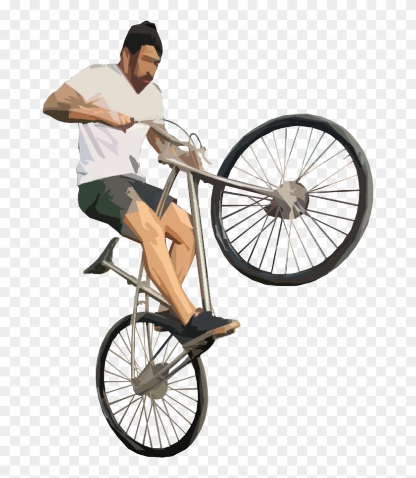 Dad Teachung Kid Riding Bike Png - Guy On Bike Png #1348601