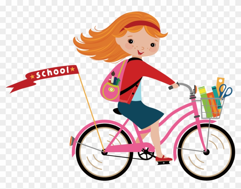 Picture Transparent Download Bicycle Clip Art Little - Cartoon Girl On Bike #1348917