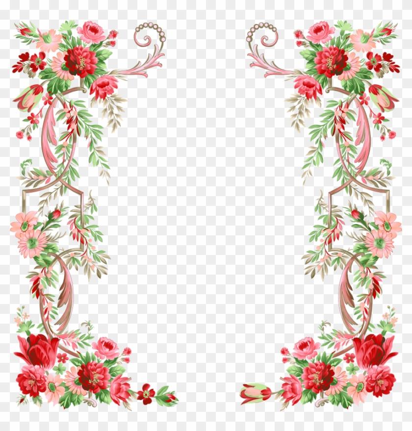 Download Flower Border Design Clipart Floral Design - Floral Border Design Png #1350342