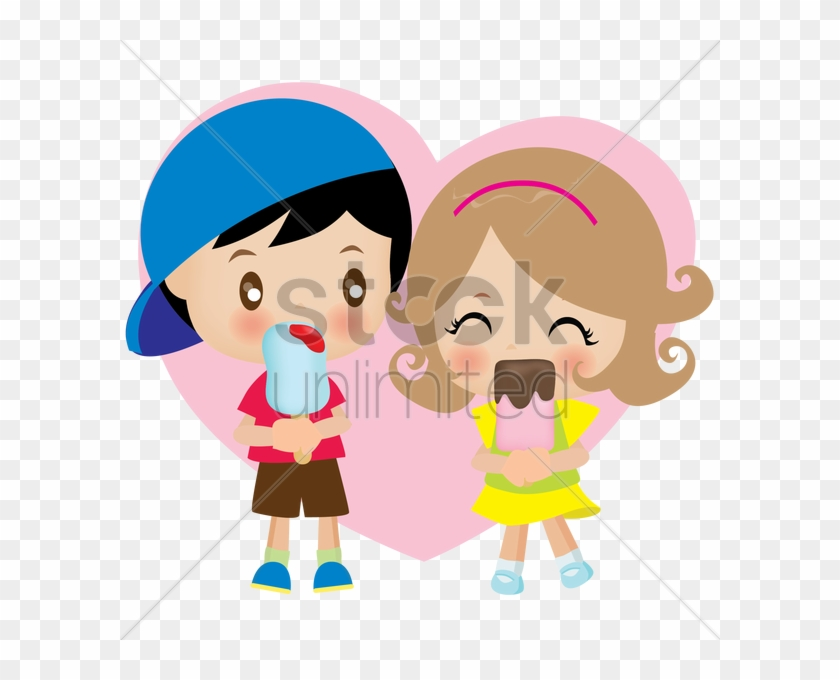 Cartoon Couple Eat Ice Cream Clipart Ice Cream Clip - Cartoon Boy And Girl Eating Ice Cream #1351735