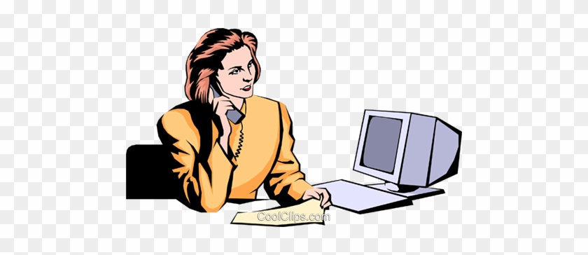 Woman On Phone Royalty Free Vector Clip Art Illustration - Office Building Clip Art #1352024
