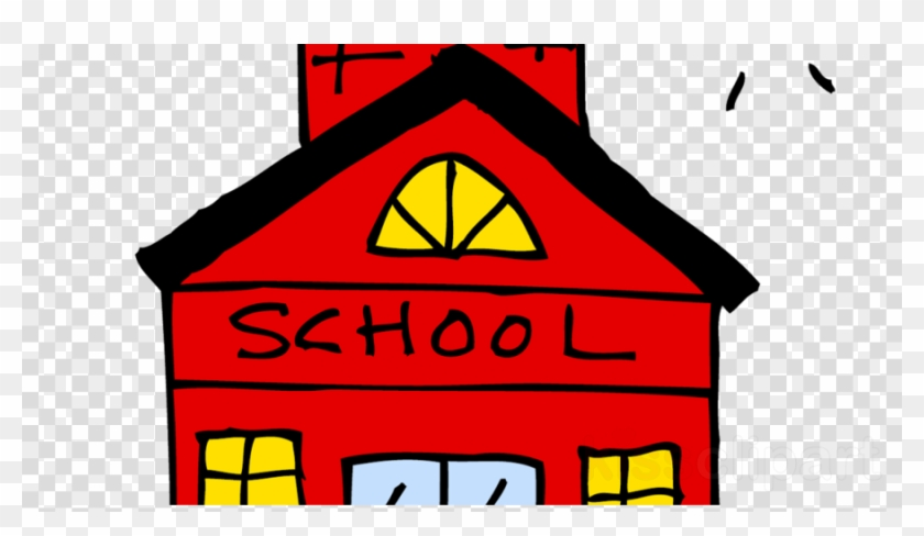 Download Elementary School Cartoon Transparent Clipart - Red School House Clip Art #1352109