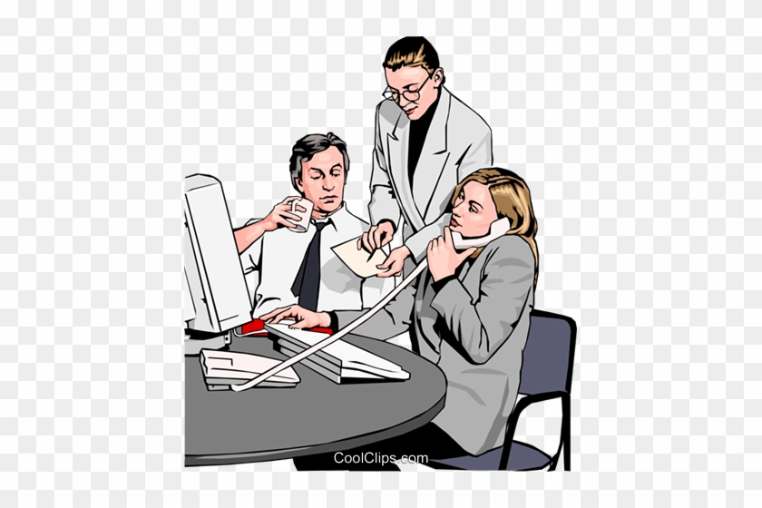 Business Team At Phone And Computer Royalty Free Vector Clip Art Office Workers Free Transparent Png Clipart Images Download