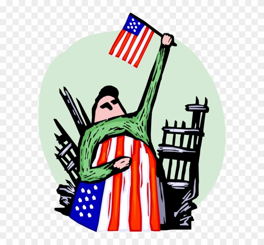 Vector Illustration Of Patriotic Americans Pays Tribute - Clip Art #1353379
