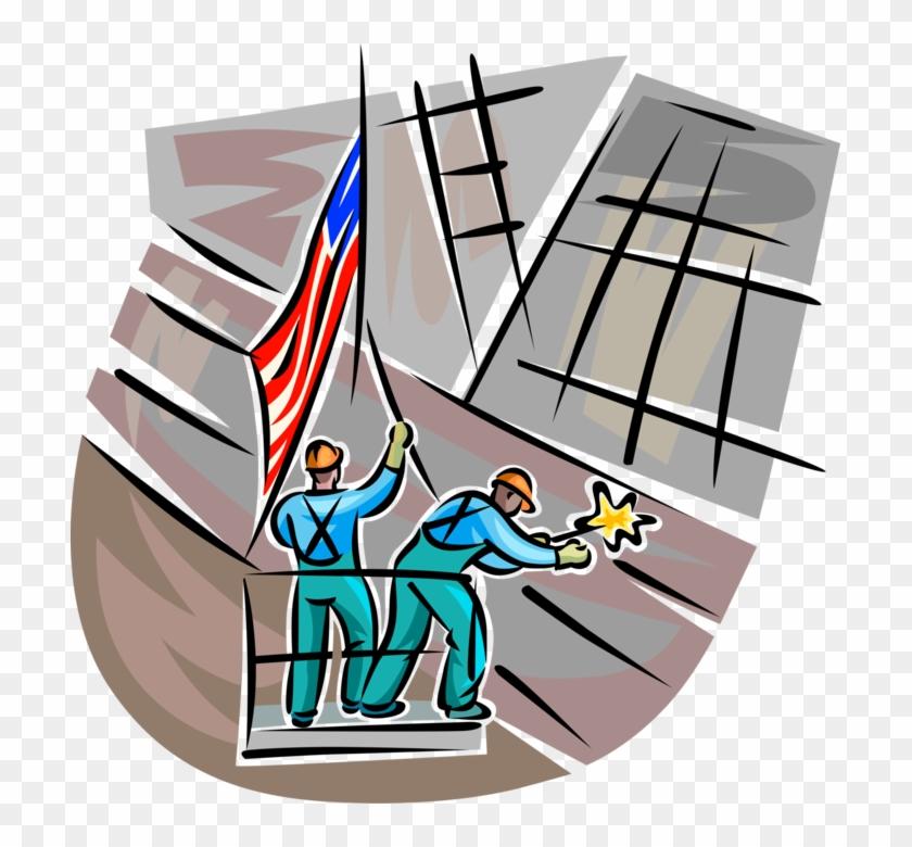 Vector Illustration Of Ground Zero Workers At World - Illustration #1353389
