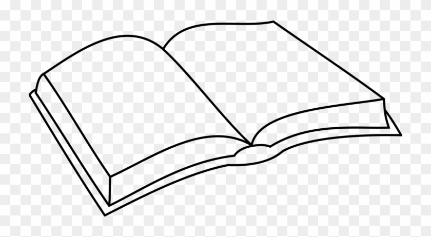 Coloring Book Download Line Art Drawing - Simple Open Book Drawing #1354812