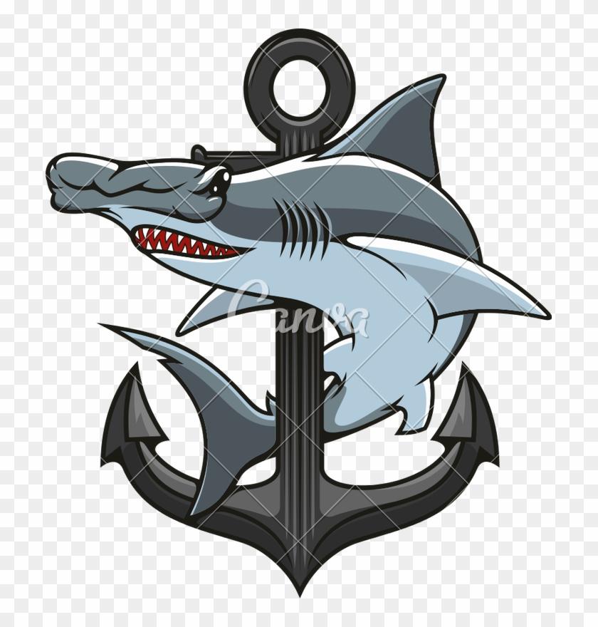 Hammerhead Shark And Anchor Heraldic Icon - Hammerhead Shark And Anchor #1359223