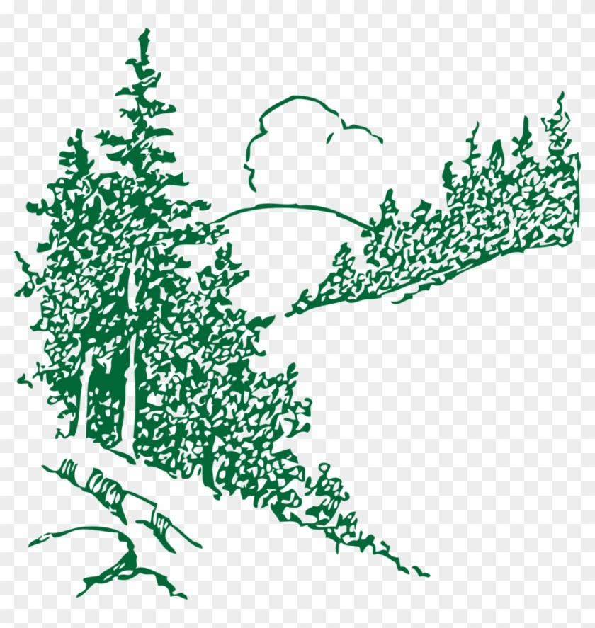All Photo Png Clipart - Mountain With Trees Outline #1360008